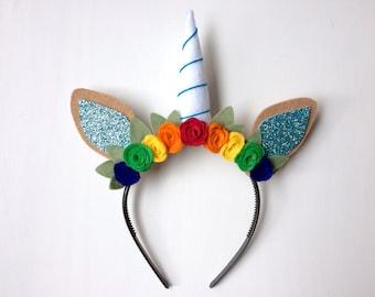 Unicorn Horn Princess Felt Horse Ear headband - Rainbow Dash - red, orange, yellow, green and royal blue blossoms with green leaves