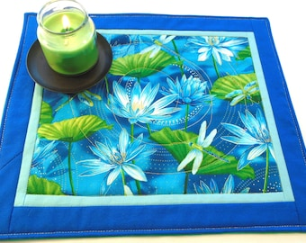 Blue dragonfly and blue lotus flowers quilted altar mat personal altar cloth tarot cloth