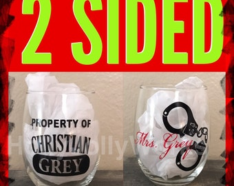 50 shades Darker, 50 shades of grey, Mrs. Grey, Wine glasses, Personlized wine glasses