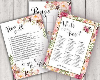 BRIDAL SHOWER GAME, Printable Bridal Shower Game, Boho Chic Bridal Party Game, Bridal Game Package, Printable Game Card, diy