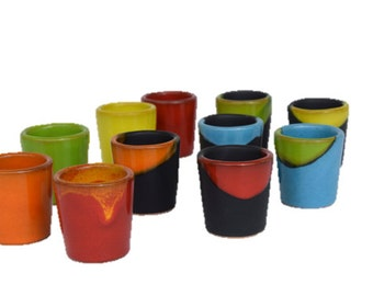 Four Handmade Ceramic shots, pottery, stoneware, multicolored, barware & drinkware, gift