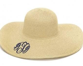 Floppy hat, tan floppy hat, monogrammed floppy hat