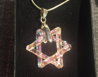 6 Pointed Star Pendant  (spiritual healing symbol) made from dichroic glass