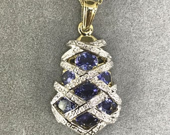 925 Silver and Gold Plated Natural Tanzanite (3.29 ct) Necklace, Appraised 1898 USD