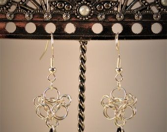Aura Chain Maille Earrings With Black Swarovski Crystals