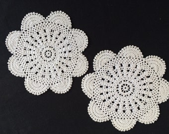 A Pair of Ivory/Beige Round  Vintage Crocheted Lace Doilies.  RBT1315