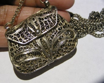Openable Purse Handbag Pendant . Necklace . Filigree . Middle eastern Jewelry