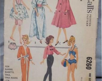 McCall's 6260 Vintage (1961) Wardrobe Pattern for Barbie, Babette, Tina, et al