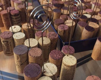 SET OF 10:  Wine Cork Table Number Wire Stands, Place Card Photo Holder, Name Badge, Wedding Favors, Upcycled, DIY Completed