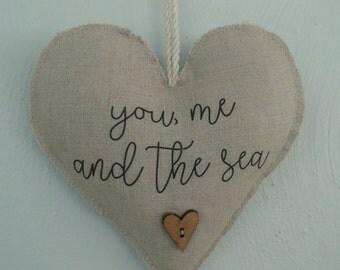 Hanging heart Heart decor Anniversary gift Linen heart Beach decor Coastal decor Birthday gift