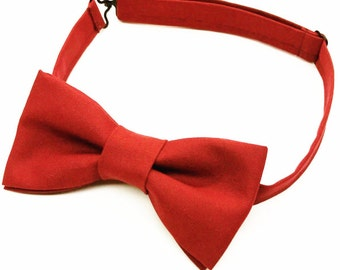 Red Bow tie, Red Bowtie, Men's Red Bow tie, Solid Red Bow tie, Red Christmas Bow tie, Pre-tied Red Bow tie, Kids Red Bowtie, Red Baby Bowtie