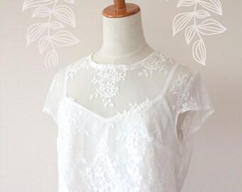 Jessa Lace Crop Top • White Lace Crop top • Wedding Crop Top