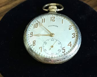 Antique Art Deco Illinois Pocket Watch 17 Jewels Two Tone Open Face  1920's Running #264