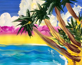 Island Beach - Original Acrylic Painting, art on paper, 12 x 12, No Frame, Painting only
