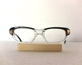 Cat Eye Glasses Frame Glossy Black Transparent Gold Oval Eyeglasses Medium Eyewear FREE SHIPPING New Old Stock NOS Gift Her She Lady Women