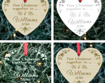 Personalised First Christmas Together Tree Decoration Ornament Bauble Gift Heart