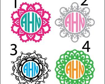 Mandala monograms, unique digital download, doily svg, dxf, eps, ai, png, cut file, instant download, cute girly, henna monogram, frame file
