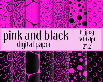 Pink and Black, Digital Paper, fuchsia color, Pink and Black background, pink pattern, Instant download, pattern Personal and Commercial Use