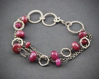 Silver bracelet Artisan bracelet Handmade jewelry Ruby bracelet