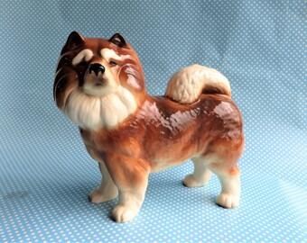 "Vintage ceramic Chow chow dog figurine, 8"" high"