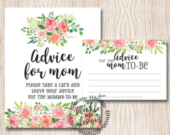 Baby Shower Advice Cards, Mommy Advice Cards, Baby Shower Advice, Advice For New Parents, Advice For Mommy To Be, Baby Shower Printables DIY