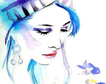 Hmong, Woman, Art, Watercolor, Painting, Poster, Print, Blue, Flower