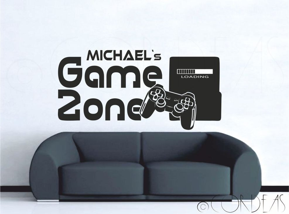 spiel zone custom wandtattoo mit namen gamer konsole spieler. Black Bedroom Furniture Sets. Home Design Ideas