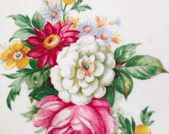 Set of Four Gorgeous Floral Vintage Portland Pottery Salad Plates