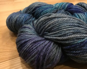 TONKS (grey merino/bamboo worsted) - Darling It's Better Down Where It's Wetter, handdyed yarn