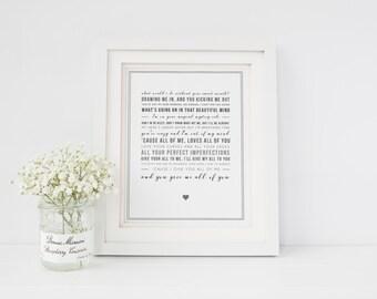 John Legend 'All Of Me' Song Lyric Print - Lyrics Wall Art - Song Lyric Print - Music Gift - Wedding Song - Can be personalised/digital