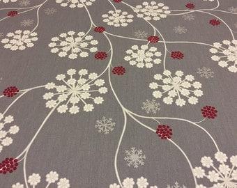 Christmas tablecloth snowflakes, cotton fabric, Scandinavian desing