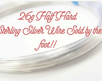 Sterling Silver 26 Gauge Half Hard Round Wire By the Foot