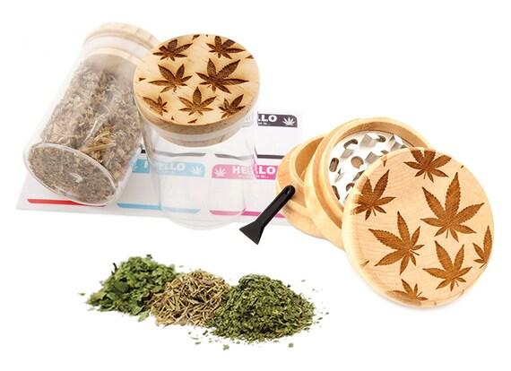 Leaf Engraved Premium Natural Wooden Grinder & Wood Lid Glass Jar Gift Set # GS103116-22