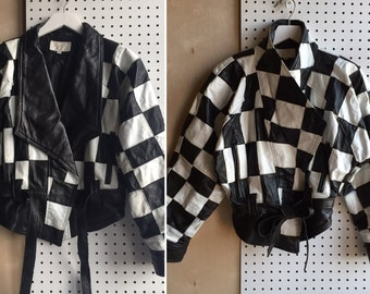Vintage Cache Cropped Checker Board Patchwork Black & White Raglan Sleeves Tie Waist Leather Jacket