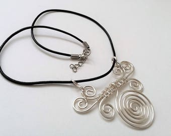 Leather Necklace, Spiral Pendant, Hammered, Everyday Necklace, Boho Necklace.
