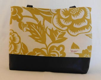 Gold and cream cotton and reclaimed black leather tote bag