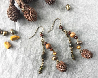 small pearl earrings with real pine cones-botanical jewelry