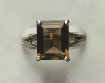 Smoky Quartz Ring, Faceted Emerald Cut Smoky Quartz Gemstone Sterling Silver Ring