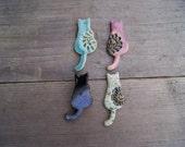 Cute cat pin, cat brooch, Ceramic kittens, ceramic brooch, cute brooches, Lilac cat, Green cat, Turquoise cat, ceramic cat brooch, fun cat
