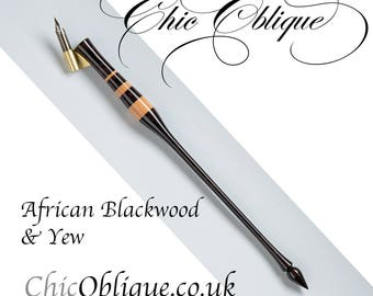 Oblique Pen Holder, African Blackwood with three Yew Bands
