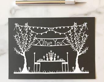 Olive You Original Papercut