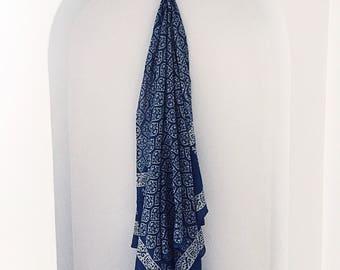 Indian Indigo Sarong- cotton sarong, Indian sarong, block print, beach cover up, sarong, block print, handmade sarong, beach sarong,
