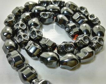 3  Full Strands 8*10 mm HematiteSkullBeads , Skull Beads , Skull Jewelry ,Supplies , Findings ,commercial
