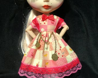 Handmade cotton dress for Blythe doll.