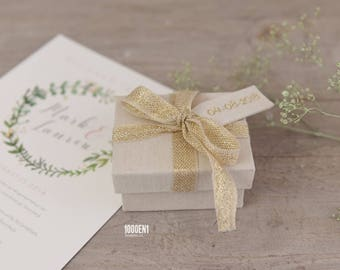 Personalized ring box with natural linen and golden bow, personalized with letterpress