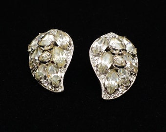 Vintage Signed Eisenberg Leaf Rhinestone Clip Earrings