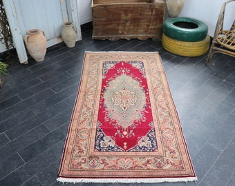 Turkish Traditional Rug, Handwoven Rug, FREE SHIPPING, Antique Anatolian Rug, 3 X 6  Vintage Rug, Bright  Color, Decorative Rug No 237