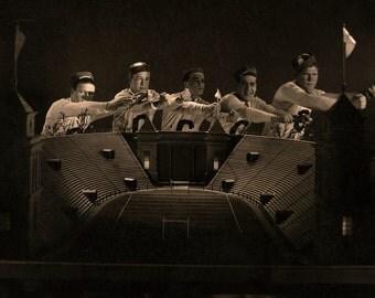 Vintage Black & White Photograph Football Stadium 1930s Classic American Hollywood Movie Silver Gelatin