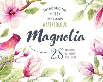 Watercolor Magnolias, Floral Clipart, Floral Magnolia Clip Art, Digital Scrapbook elements Instant download Wedding Floral Clipart, Magnolia
