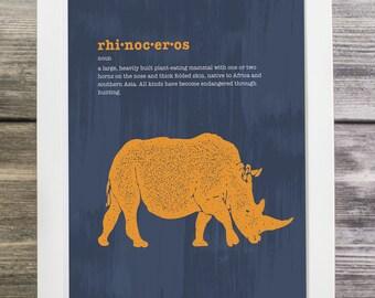 Rhinoceros Modern Art Print, Safari Series, Instant Download, Printable, 8x10